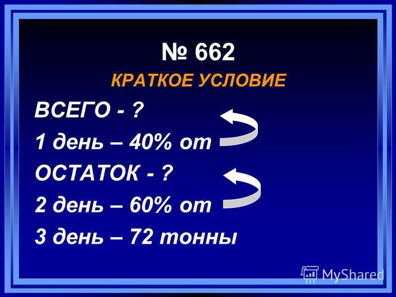 662 КРАТКОЕ УСЛОВИЕ ВСЕГО - ? 1 день – 40% от ОСТАТОК - ? 2 день – 60% от 3 день – 72 тонны