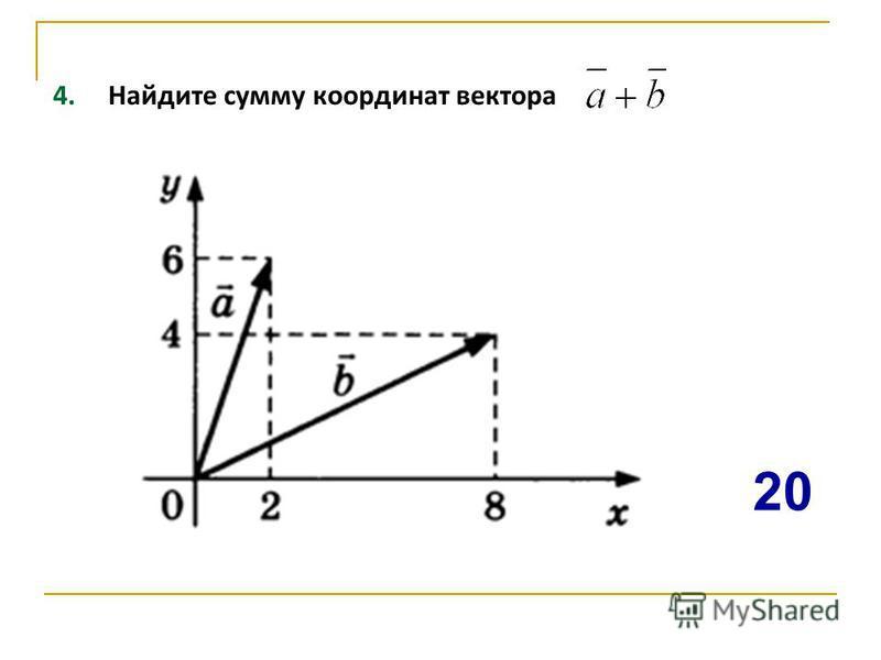 4. Найдите сумму координат вектора 20