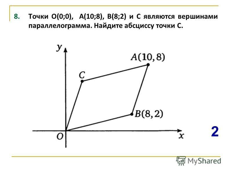 8. Точки О(0;0), А(10;8), В(8;2) и С являются вершинами параллелограмма. Найдите абсциссу точки С. 2