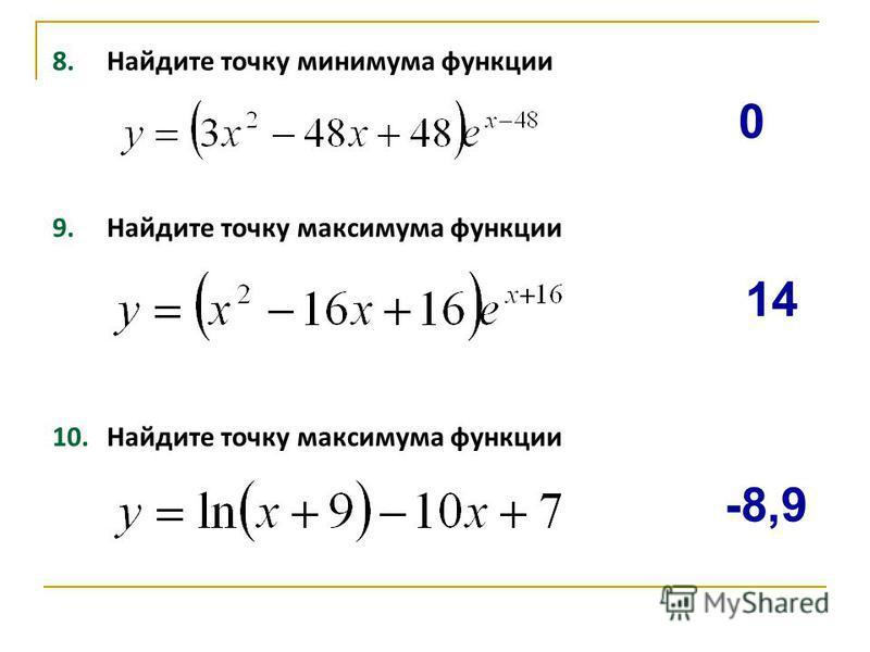 8. Найдите точку минимума функции 9. Найдите точку максимума функции 10. Найдите точку максимума функции -8,9 14 0