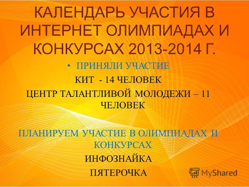 КАЛЕНДАРЬ УЧАСТИЯ В ИНТЕРНЕТ ОЛИМПИАДАХ И КОНКУРСАХ 2013-2014 Г. ПРИНЯЛИ УЧАСТИЕ КИТ - 14 ЧЕЛОВЕК ЦЕНТР ТАЛАНТЛИВОЙ МОЛОДЕЖИ – 11 ЧЕЛОВЕК ПЛАНИРУЕМ УЧАСТИЕ В ОЛИМПИАДАХ И КОНКУРСАХ ИНФОЗНАЙКА ПЯТЕРОЧКА