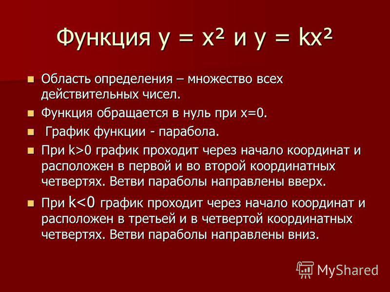 Функция у = х² и у = kх² Область определения – множество всех действительных чисел. Область определения – множество всех действительных чисел. Функция обращается в нуль при х=0. Функция обращается в нуль при х=0. График функции - парабола. График фун