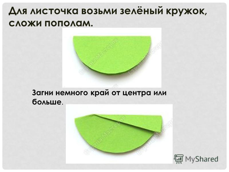Для листочка возьми зелёный кружок, сложи пополам. Загни немного край от центра или больше.