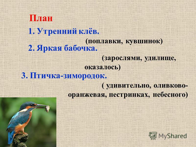 План 2. Яркая бабочка. (зарослями, удилище, оказалось) 1. Утренний клёв. (поплавки, кувшинок) 3. Птичка-зимородок. ( удивительно, оливково- оранжевая, пестрянках, небесного)