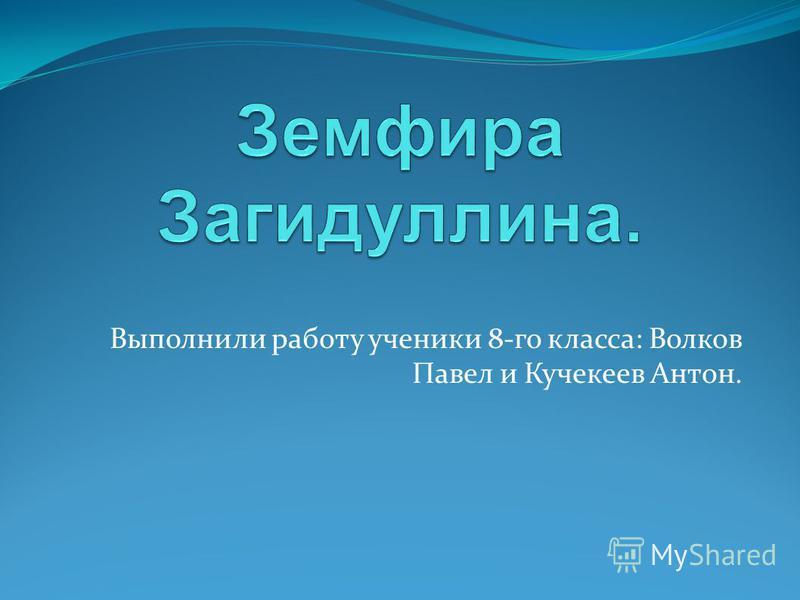 Выполнили работу ученики 8-го класса: Волков Павел и Кучекеев Антон.