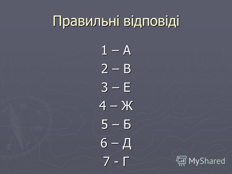 Правильні відповіді 1 – А 2 – В 3 – Е 4 – Ж 5 – Б 6 – Д 7 - Г