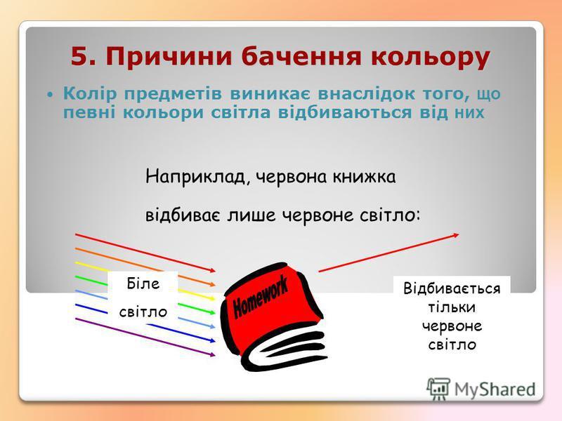 5. Причини бачення кoльору Колір предметів виникає внаслідок того, що певні кольори світла відбиваються від них Наприклад, червона книжка відбиває лише чeрвоне свiтло: Біле свiтло Відбивається тільки червоне свiтло