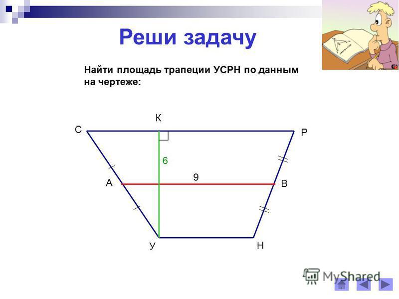 Реши задачу Найти площадь трапеции УСРН по данным на чертеже: У С Р Н А В 9 К 6