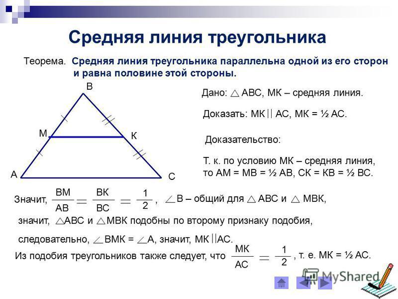 Средняя линия треугольника Теорема. Средняя линия треугольника параллельна одной из его сторон и равна половине этой стороны. А С В М К Дано: АВС, МК – средняя линия. Доказательство: Т. к. по условию МК – средняя линия, то АМ = МВ = ½ АВ, СК = КВ = ½