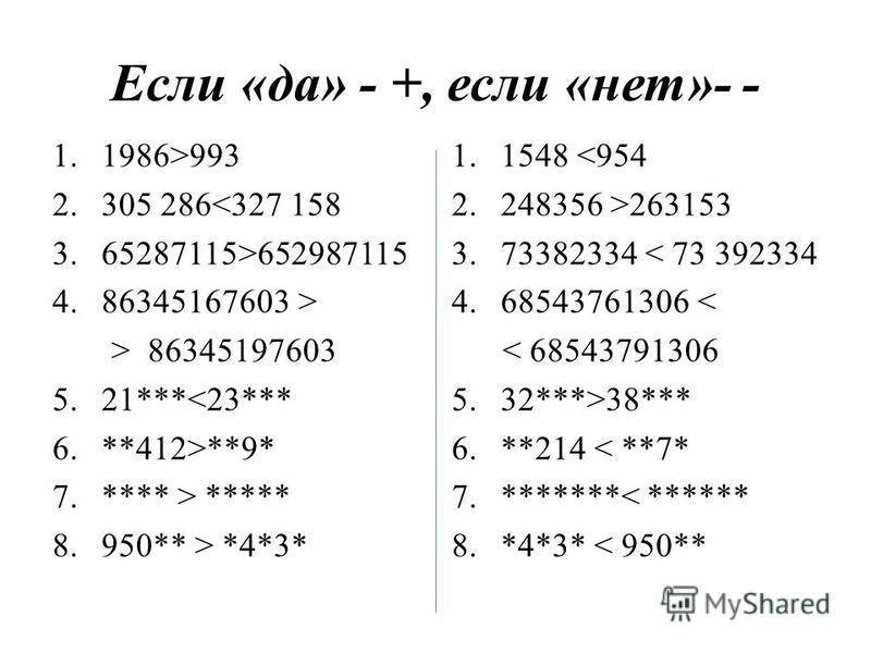Если «да» - +, если «нет»- - 1.1986>993 2.305 286<327 158 3.65287115>652987115 4.86345167603 > > 86345197603 5.21***<23*** 6.**412>**9* 7.**** > ***** 8.950** > *4*3* 1.1548 <954 2.248356 >263153 3.73382334 < 73 392334 4.68543761306 < < 68543791306 5