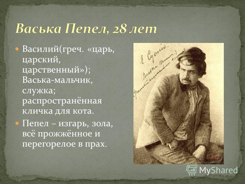 Василий(греч. «царь, царский, царственный»); Васька-мальчик, служка; распространённая кличка для кота. Пепел – изгарь, зола, всё прожжённое и перегорелое в прах.