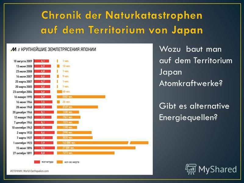 Wozu baut man auf dem Territorium Japan Atomkraftwerke? Gibt es alternative Energiequellen?