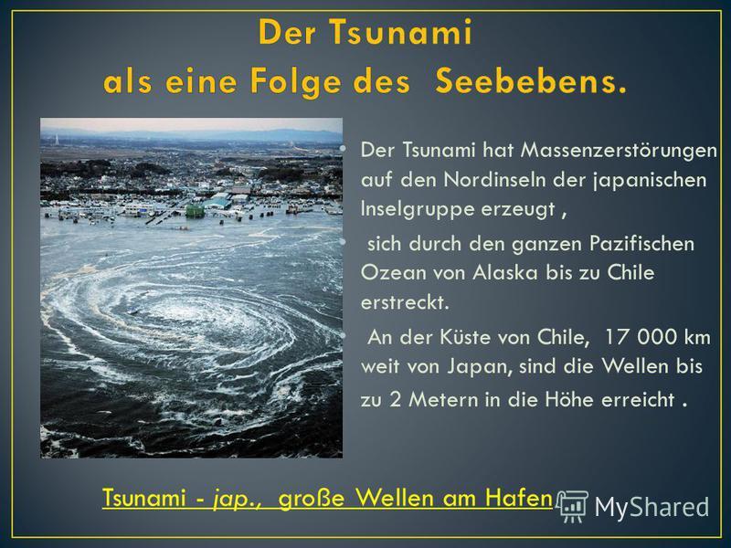 Der Tsunami hat Massenzerstörungen auf den Nordinseln der japanischen Inselgruppe erzeugt, sich durch den ganzen Pazifischen Ozean von Alaska bis zu Chile erstreckt. An der Küste von Chile, 17 000 km weit von Japan, sind die Wellen bis zu 2 Metern in