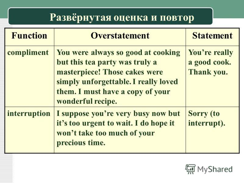 Развёрнутая оценка и повтор FunctionOverstatementStatement complimentYou were always so good at cooking but this tea party was truly a masterpiece! Those cakes were simply unforgettable. I really loved them. I must have a copy of your wonderful recip
