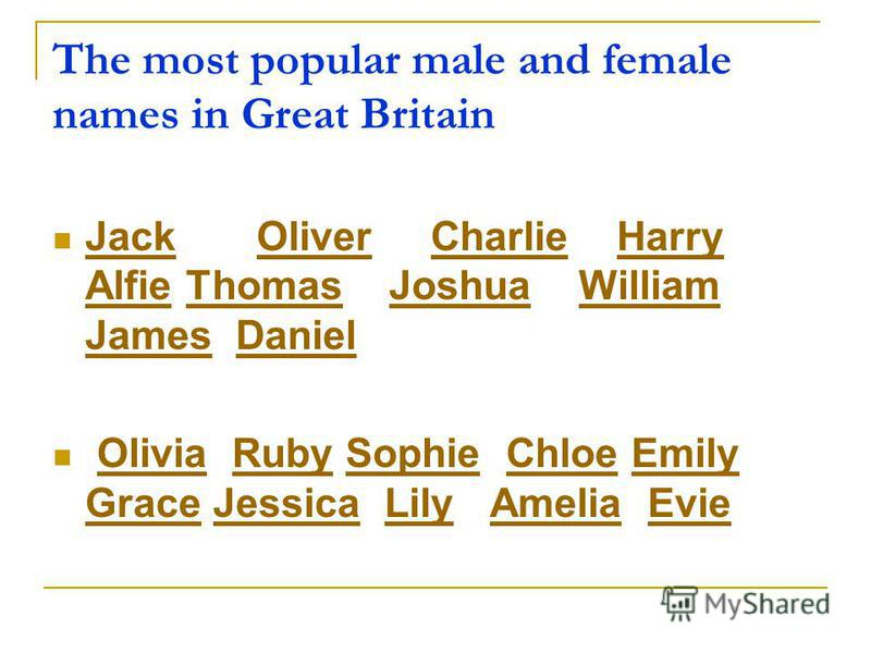 The most popular male and female names in Great Britain Jack Oliver Charlie Harry Alfie Thomas Joshua William James Daniel JackOliverCharlieHarry AlfieThomasJoshuaWilliam JamesDaniel Olivia Ruby Sophie Chloe Emily Grace Jessica Lily Amelia EvieOlivia