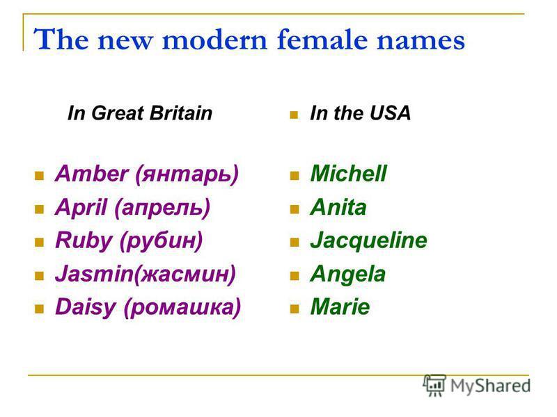 The new modern female names In Great Britain Amber (янтарь) April (апрель) Ruby (рубин) Jasmin(жасмин) Daisy (ромашка) In the USA Michell Anita Jacqueline Angela Marie