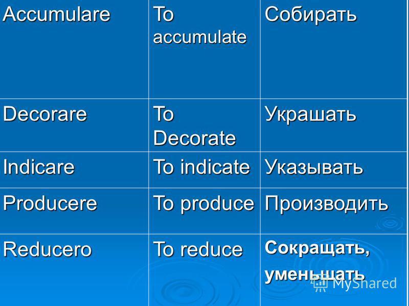 Accumulare To accumulate Собирать Decorare To Decorate Украшать Indicare To indicate Указывать Producere To produce Производить Reducero To reduce Сокращать,уменьшать
