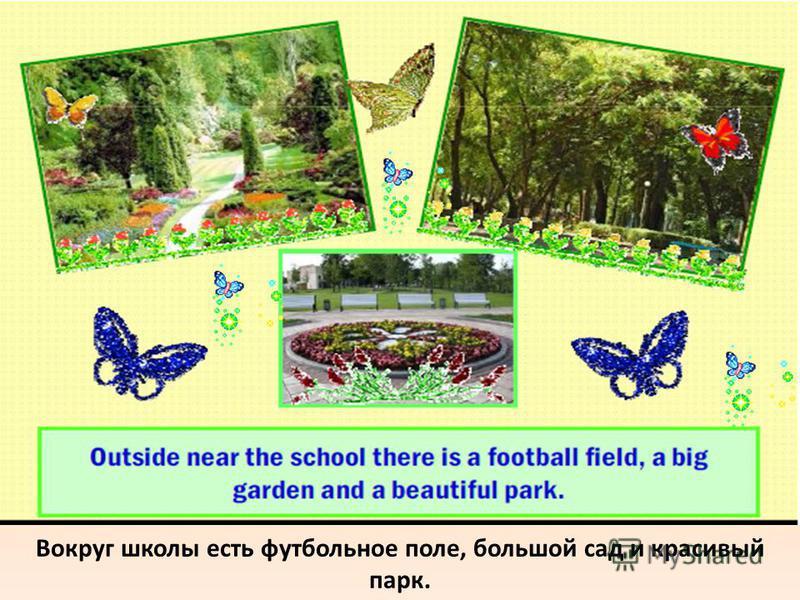 Вокруг школы есть футбольное поле, большой сад и красивый парк.
