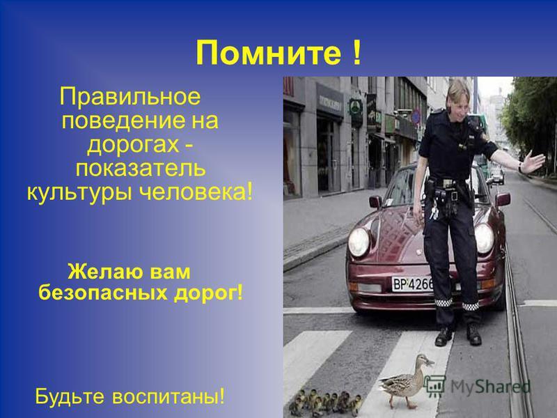 Помните ! Правильное поведение на дорогах - показатель культуры человека! Желаю вам безопасных дорог! Будьте воспитаны!