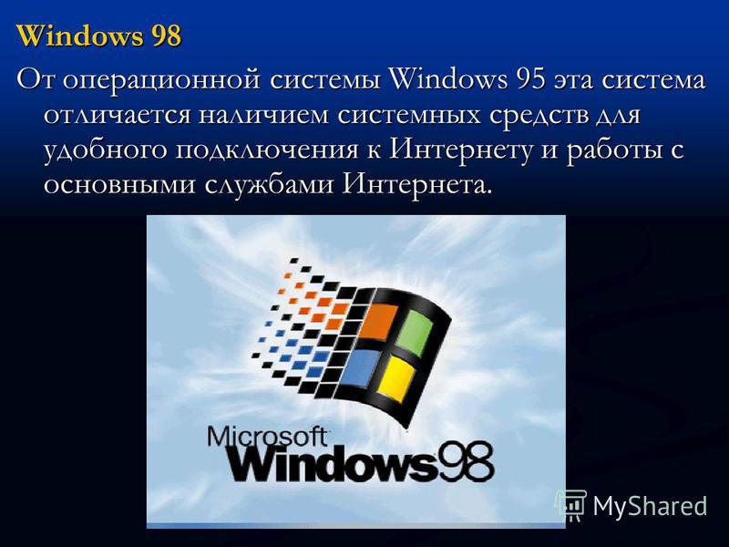 Windows 98 От операционной системы Windows 95 эта система отличается наличием системных средств для удобного подключения к Интернету и работы с основными службами Интернета.