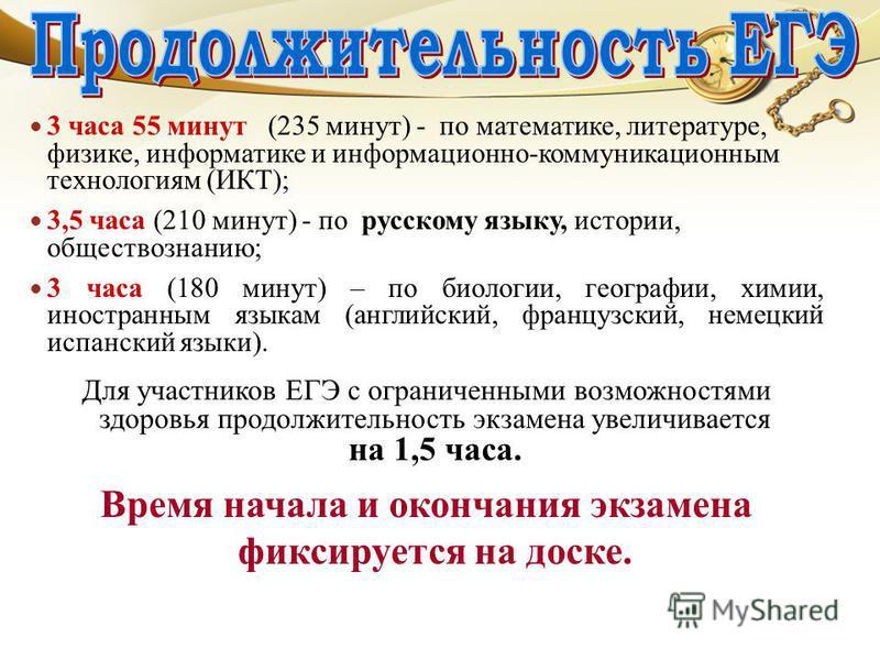 3 часа 55 минут (235 минут) - по математике, литературе, физике, информатике и информационно-коммуникационным технологиям (ИКТ); 3,5 часа (210 минут) - по русскому языку, истории, обществознанию; 3 часа (180 минут) – по биологии, географии, химии, ин