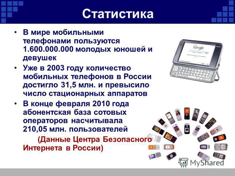 Статистика В мире мобильными телефонами пользуются 1.600.000.000 молодых юношей и девушек Уже в 2003 году количество мобильных телефонов в России достигло 31,5 млн. и превысило число стационарных аппаратов В конце февраля 2010 года абонентская база с