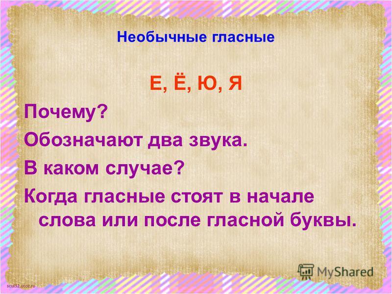 scul32.ucoz.ru Необычные гласные Е, Ё, Ю, Я Почему? Обозначают два звука. В каком случае? Когда гласные стоят в начале слова или после гласной буквы.
