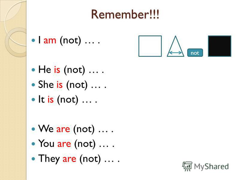 not Remember!!! Remember!!! I am (not) …. He is (not) …. She is (not) …. It is (not) …. We are (not) …. You are (not) …. They are (not) ….