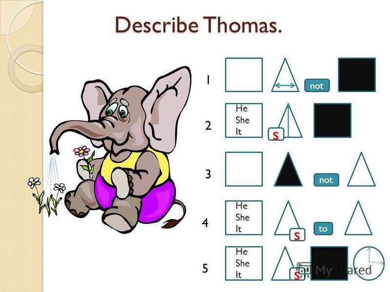 Describe Thomas. Describe Thomas. to not s s 1 2 3 4 5 s He She It He She It He She It