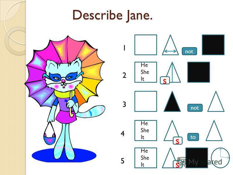 Describe Jane. Describe Jane. to not s s 1 2 3 4 5 s He She It He She It He She It