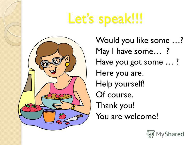 Lets speak!!! Lets speak!!! Would you like some …? May I have some… ? Have you got some … ? Here you are. Help yourself! Of course. Thank you! You are welcome!