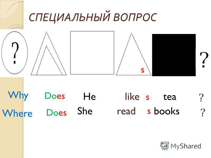 СПЕЦИАЛЬНЫЙ ВОПРОС He like tea She read books Does s s s Why Where