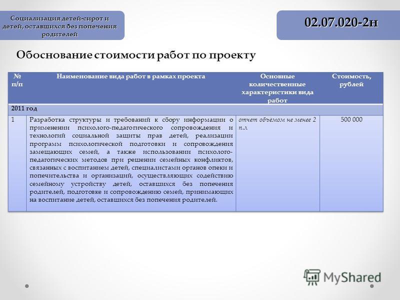 Обоснование стоимости работ по проекту 02.07.020-2 н Социализация детей-сирот и детей, оставшихся без попечения родителей