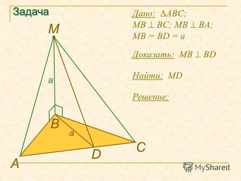 Задача Найти: MD А В D M Решение: Дано: ABC; MB BC; MB BA; MB = BD = a Доказать: МB BD C a a