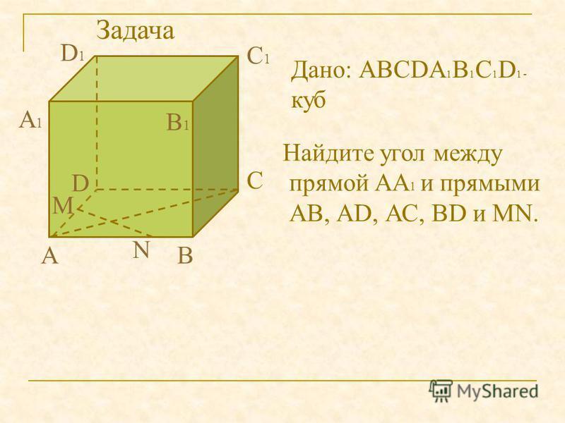 АВ С D А1А1 В1В1 С1С1 D1D1 Дано: АВСDА 1 В 1 С 1 D 1 - куб Найдите угол между прямой АА 1 и прямыми АВ, АD, АС, ВD и MN. M N Задача