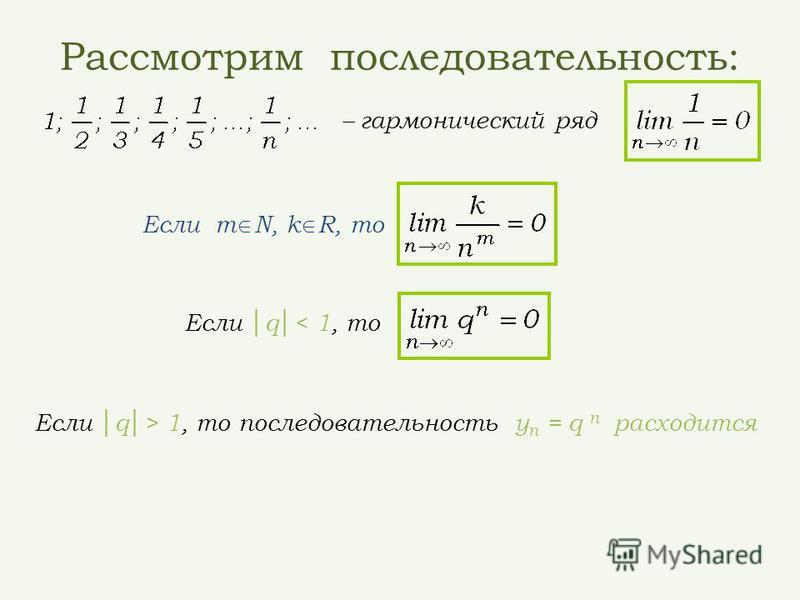 Рассмотрим последовательность: – гармонический ряд Если q< 1, то Если q> 1, то последовательность у n = q n расходится Если m N, k R, то