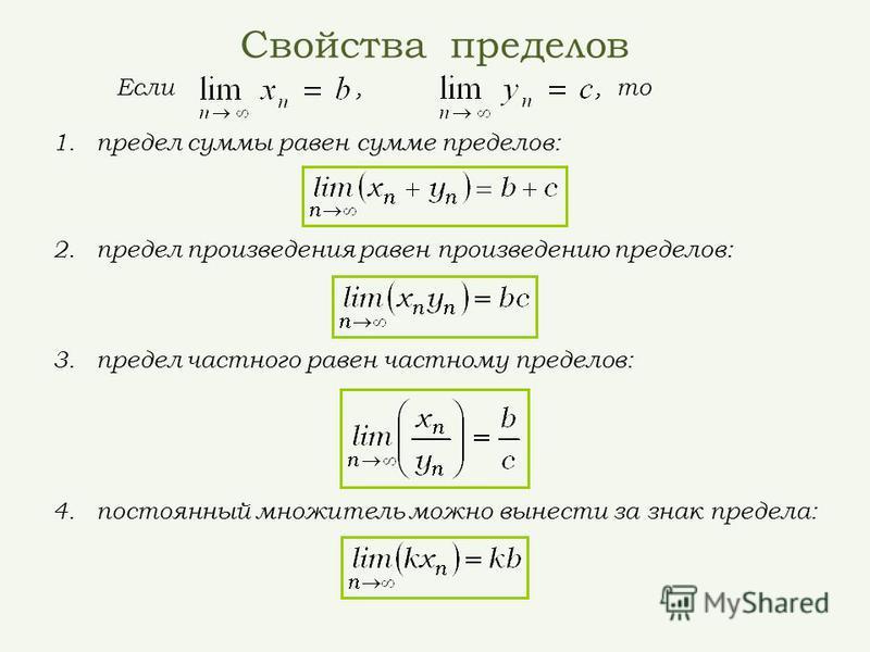 Свойства пределов Если,, то 3. предел частного равен частному пределов: 2. предел произведения равен произведению пределов: 1. предел суммы равен сумме пределов: 4. постоянный множитель можно вынести за знак предела: