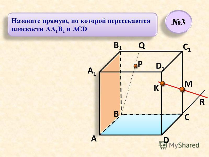 P A B C D A1A1 B1B1 C1C1 D1D1 R M K Q 3 3 Назовите прямую, по которой пересекаются плоскости АА 1 В 1 и АСD
