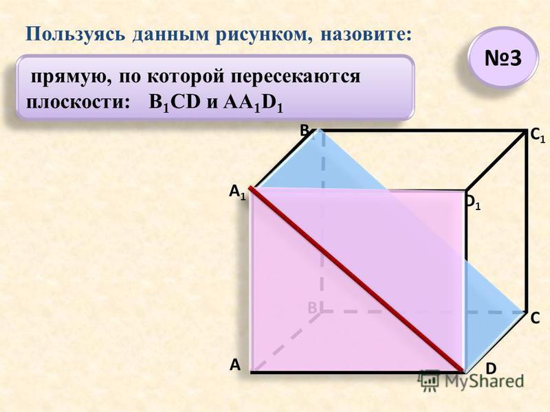 прямую, по которой пересекаются плоскости: B 1 CD и AA 1 D 1 А А1А1 В В1В1 С D1D1 D C1C1 Пользуясь данным рисунком, назовите: 3 3