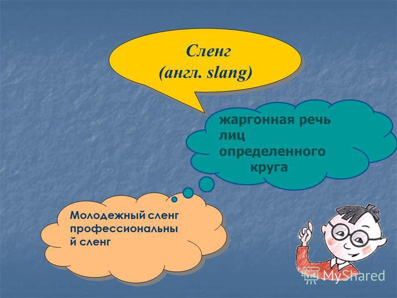 Сленг (англ. slang) Сленг (англ. slang) Молодежный сленг профессиональный сленг Молодежный сленг профессиональный сленг жаргонная речь лиц определенного круга