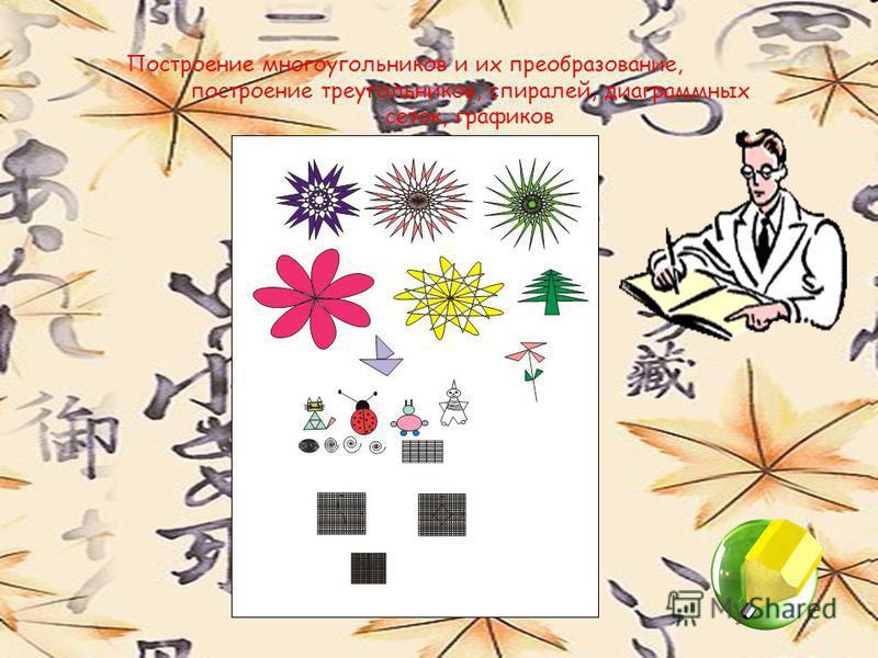 Построение многоугольников и их преобразование, построение треугольников, спиралей, диаграммных сеток, графиков