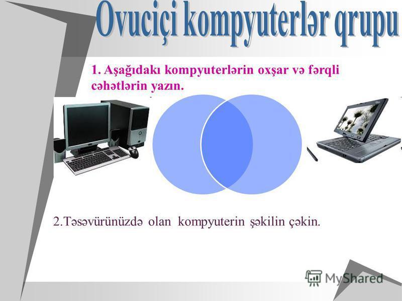 2.Təsəvürünüzdə olan kompyuterin şəkilin çəkin.