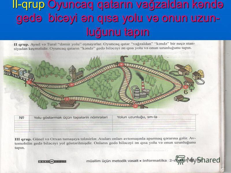 I-qrup Sevil və Toğrulu kəndə aparan ən qısa cığırı və onun uzunluğunu tapın.