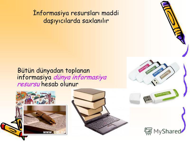 İnformasiya resursları maddi daşıyıcılarda saxlanılır Bütün dünyadan toplanan informasiya dünya informasiya resursu hesab olunur