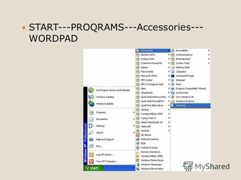 START---PROQRAMS---Accessories--- WORDPAD