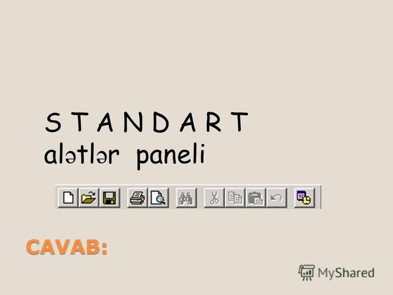 CAVAB: S T A N D A R T al ə tl ə r paneli