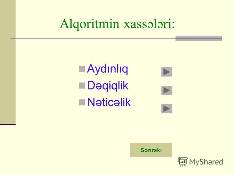 Alqoritmin xassələri: Aydınlıq Dəqiqlik Nəticəlik Sonrakı
