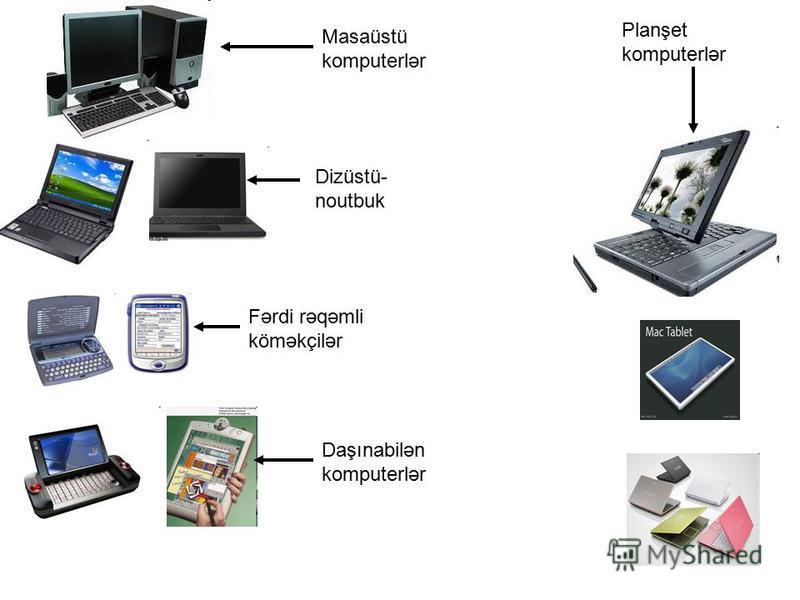 Masaüstü komputerlər Dizüstü- noutbuk Fərdi rəqəmli köməkçilər Daşınabilən komputerlər Planşet komputerlər