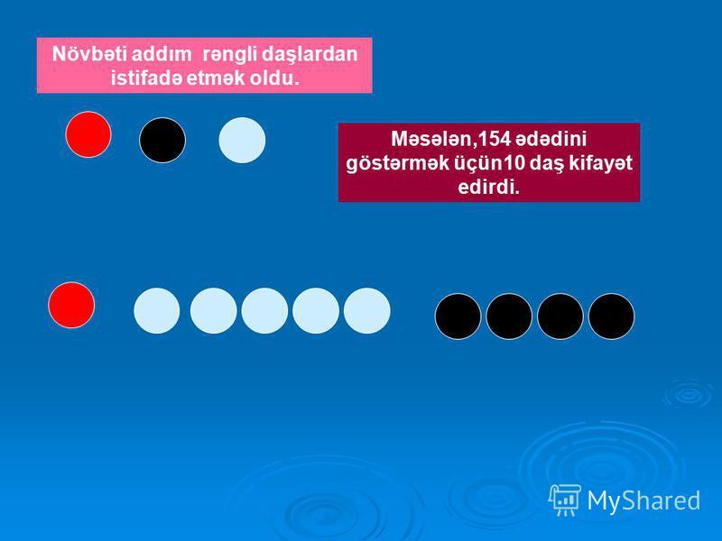 Növbəti addım rəngli daşlardan istifadə etmək oldu. Məsələn,154 ədədini göstərmək üçün10 daş kifayət edirdi.