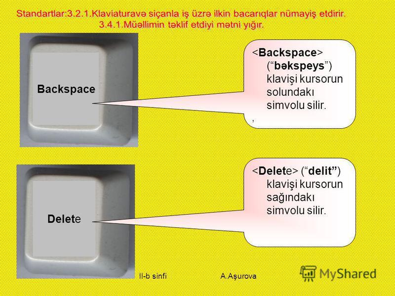 II-b sinfi A.Aşurova Backspace (bəkspeys) klavişi kursorun solundakı simvolu silir., Delete (delit) klavişi kursorun sağındakı simvolu silir.